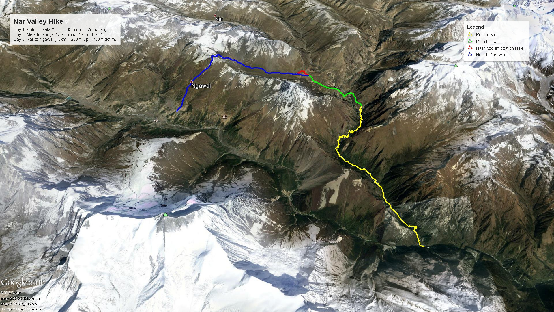 Nar Valley Hike Map