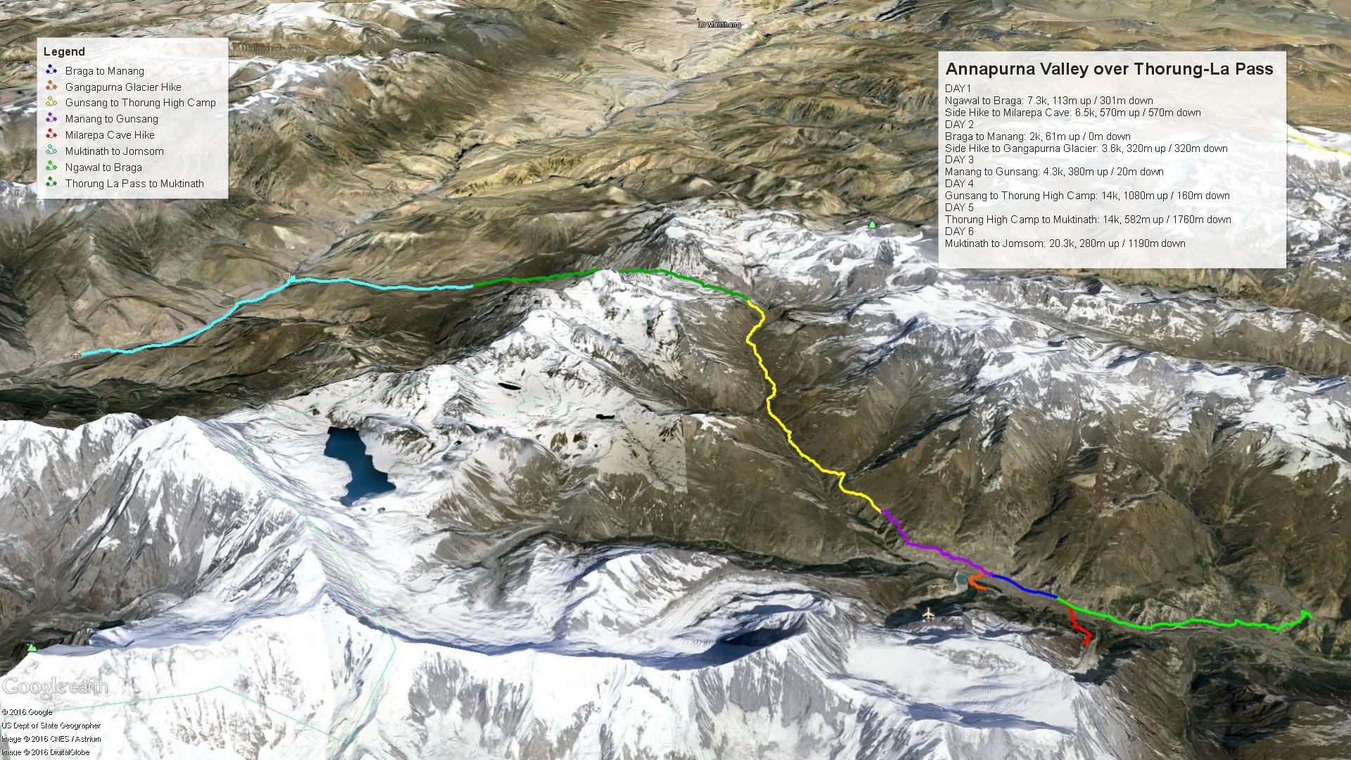 Thorung La Trekking Map2