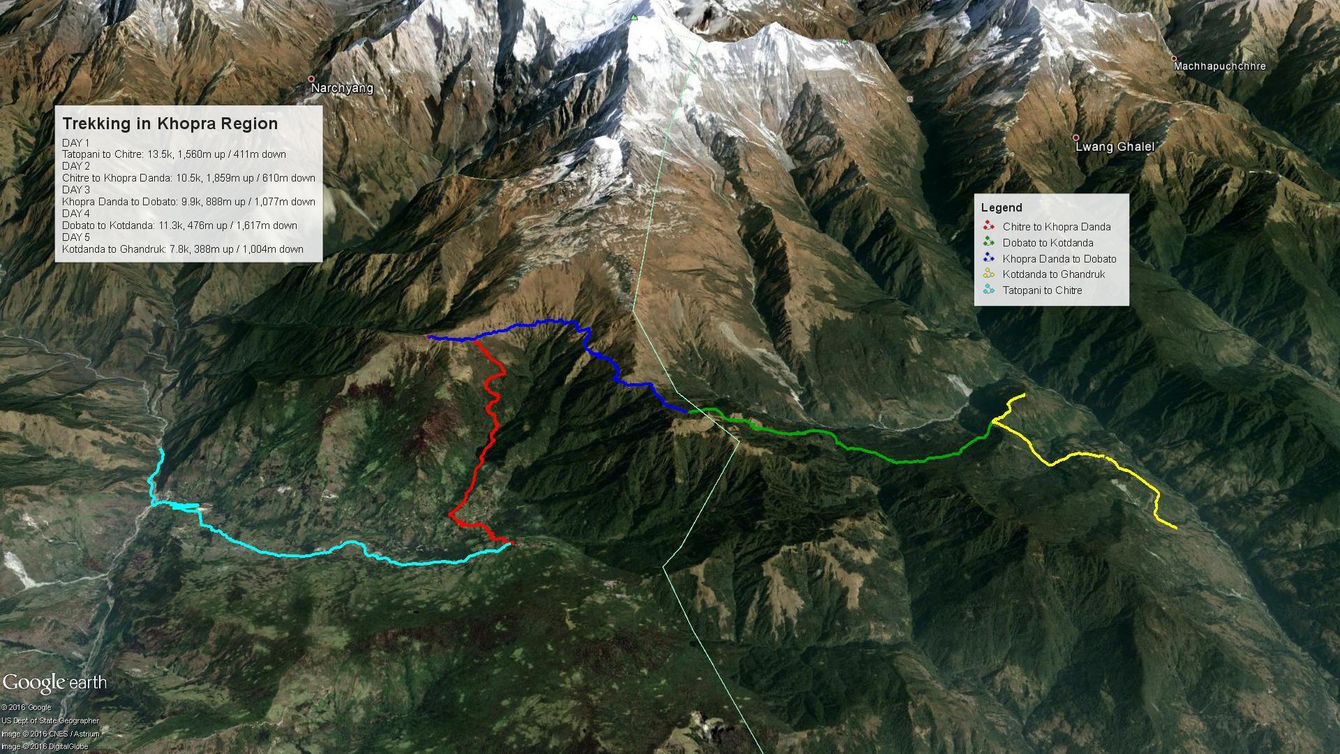 Khopra Region Trekking Map